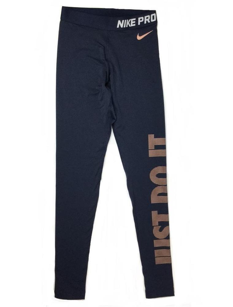 f8dbbacd75880b Nike Womens Pro Warm JUST DO IT DriFit Navy Blue Copper Leggings XS  917085-451 #Nike #AthleticLeggings