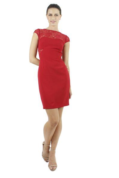 e7633c41e ADRIANNA PAPELL Vestido corto color rojo con encaje.
