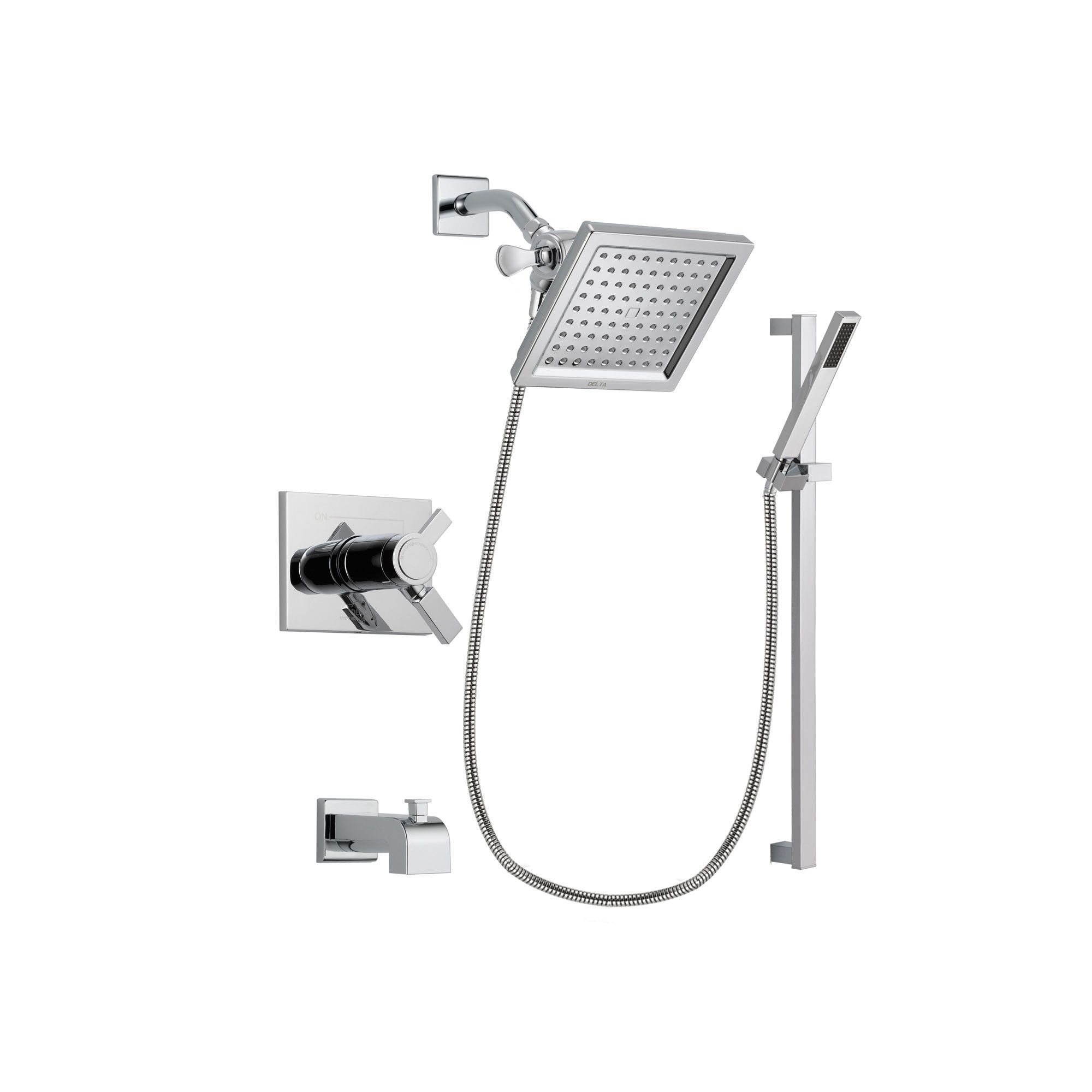 Delta Vero Chrome Tub And Shower Faucet System Package With Hand