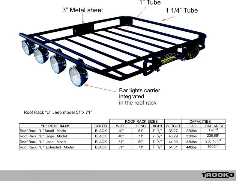 Trocko Roof Rack W Integrated Light Bar Roof Rack Cool Truck Accessories Roof Racks