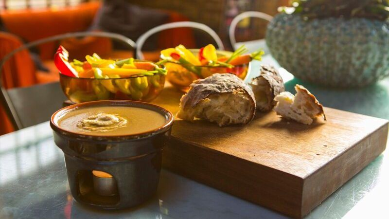 Bagna cauda hot anchovy and garlic dip recipe in
