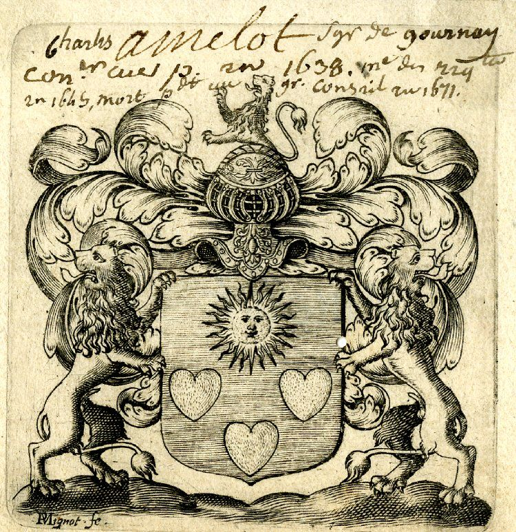 Coat of arms of a member of the Amelot family; armorial shield decorated with three hearts and sun, supported by two affronted lions, and surmounted by helmet and lion - Engraving, mountaid on paper