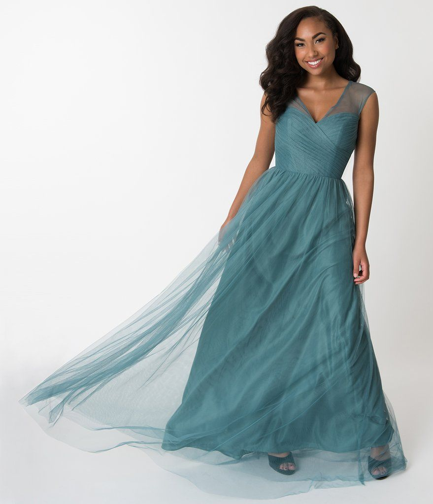 19be392df72 Teal Green Mesh Wrapped Sweetheart Neckline Long Dress – Unique Vintage
