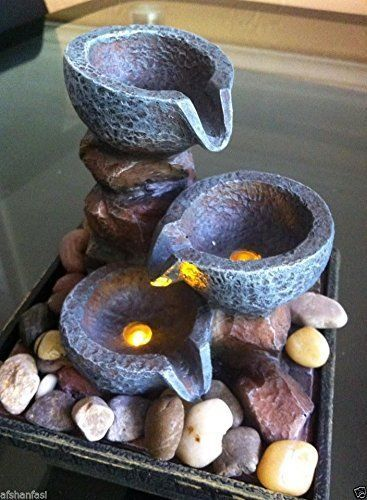 Indoor Battery Ed Tabletop Stone Effect Water Feature Fountain Waterfall