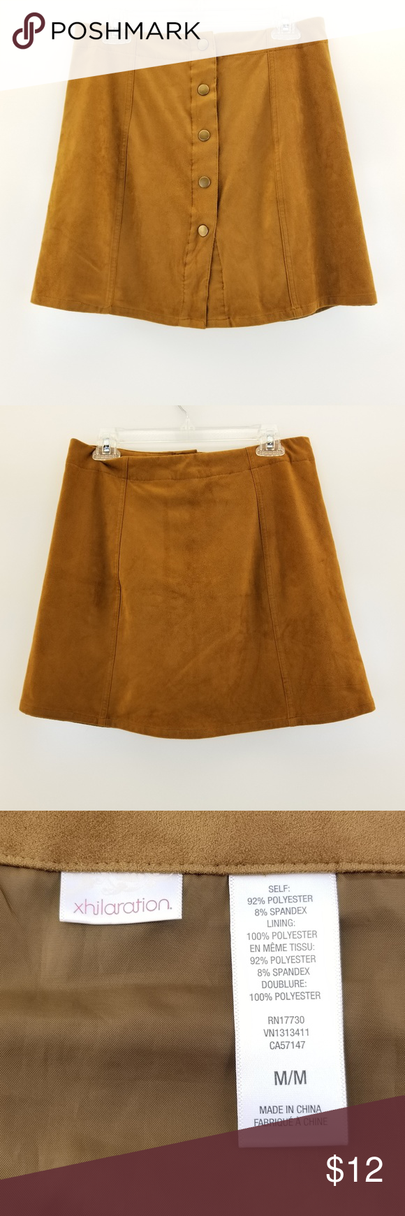 3527f82090e5 XHILARATION Faux Suede Buttoned Front Skirt A beautiful tan suede button-front  skirt that is