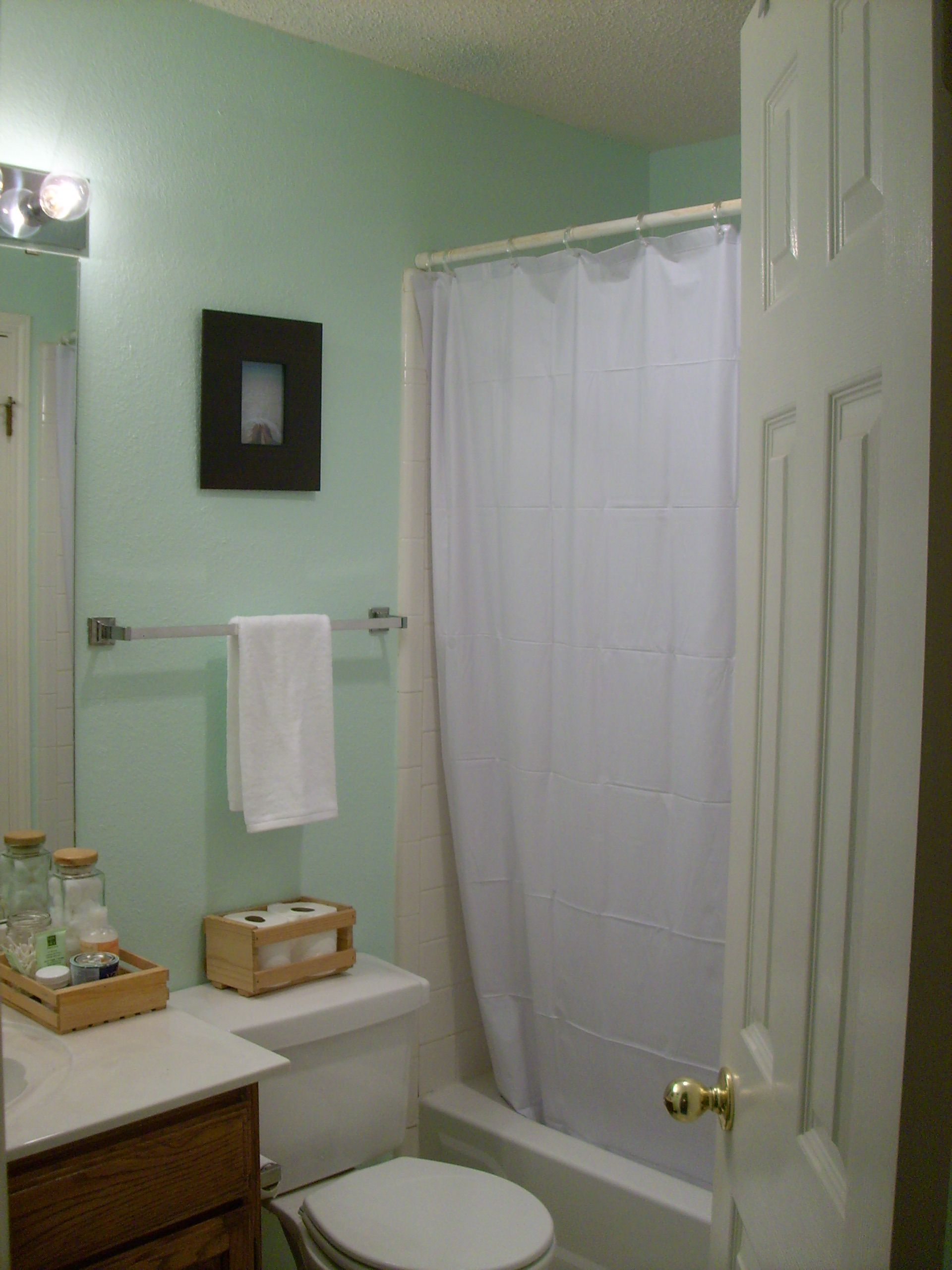 Weekend bathroom makeover completed 1950s art moderne - Master bedroom and bathroom paint colors ...