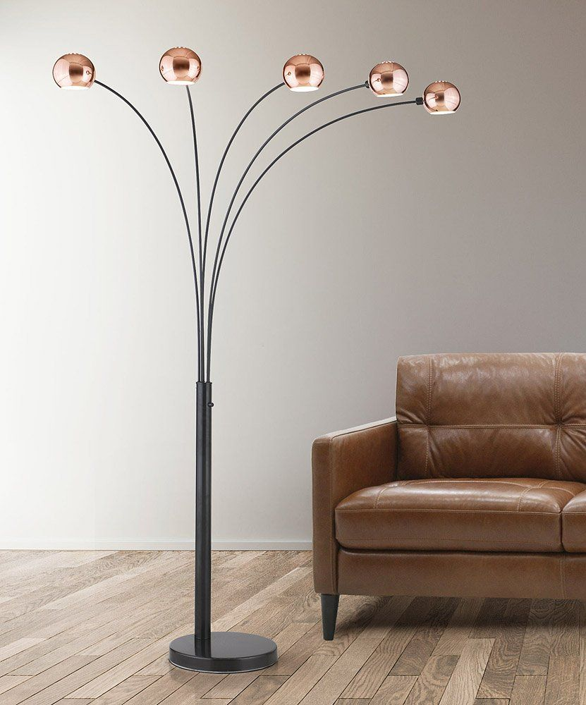 Hometrend Orbs 5 Light Arc Floor Lamp Arch Modern Dimmer Switch Bulbs Included Mirrored Copper Orb
