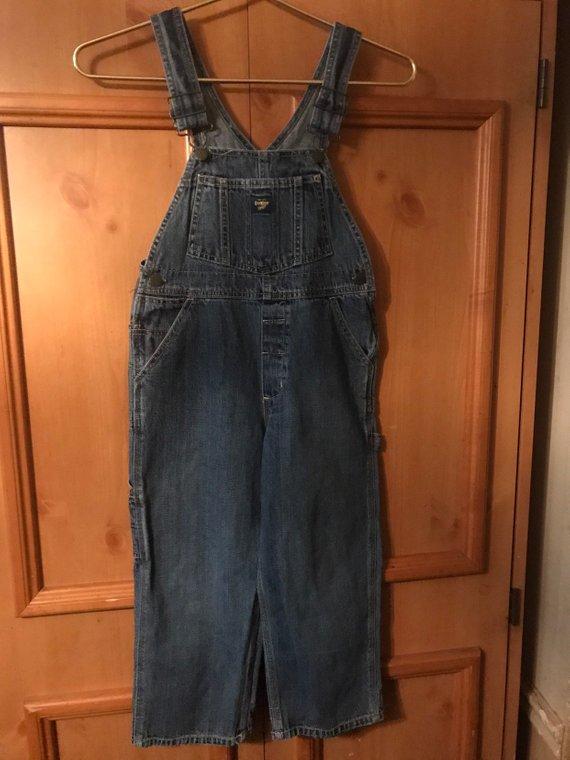 Oshkosh vestbak childs sz 6 overall bib overalls ,denim,denim overalls