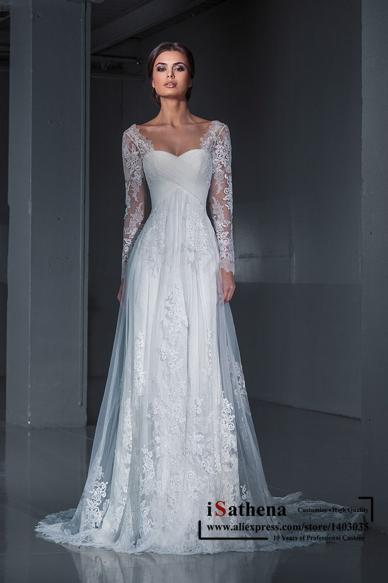 Romantic greek style lace illusion long sleeves chapel train