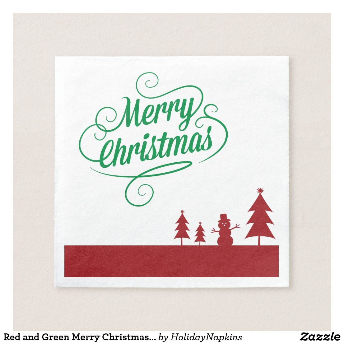 Christmas Party Ideas For Small Business Part - 31: Support Small Business · Red And Green Merry Christmas Party Napkins