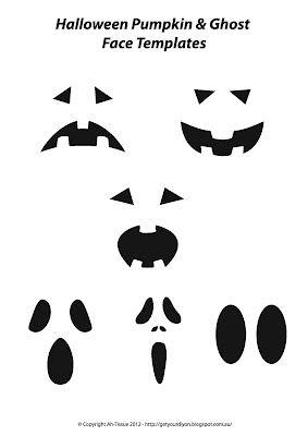 Free Ghost Pumpkin Face Templates Cards Halloween Halloween