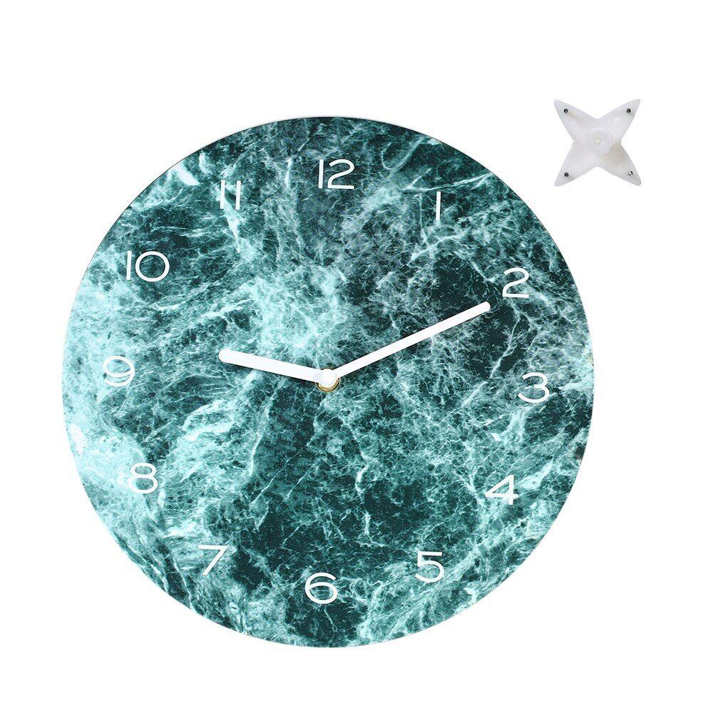 Marbled Effect Wall Clock Neat Looking Clocks 11 42in Precise Hanging Clock Black Dark Green Hanging Clock Wall Clock Clock