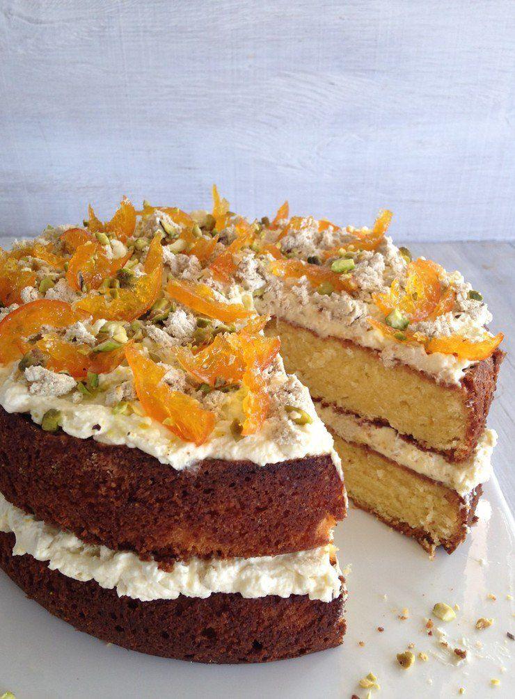 Orange and white chocolate cake with vanilla halva dense