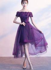 Photo of Dark Purple High Low Cute Off Shoulder Heimkehrkleid 2019 Schönes Abendkleid …