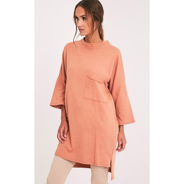 Ceara Deep Peach Split Side Sweater Dress - 6 ($24) ❤ liked on Polyvore featuring dresses and deep peach