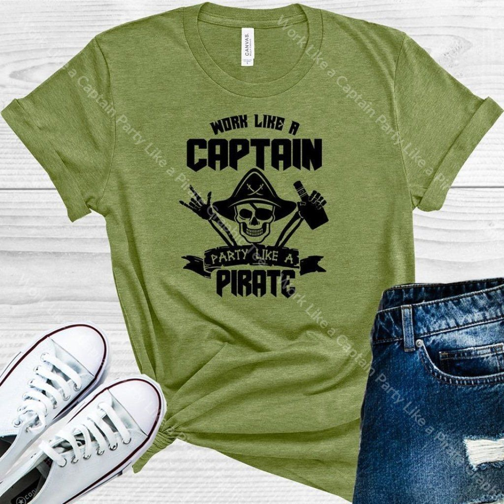Work Like A Captain Party Like A Pirate Graphic Tee In 2020 Popular Shirt Graphic Tees Colorful Shirts
