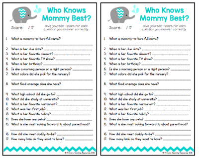 Who Knows Mommy Best? Free Baby Shower Printable Game