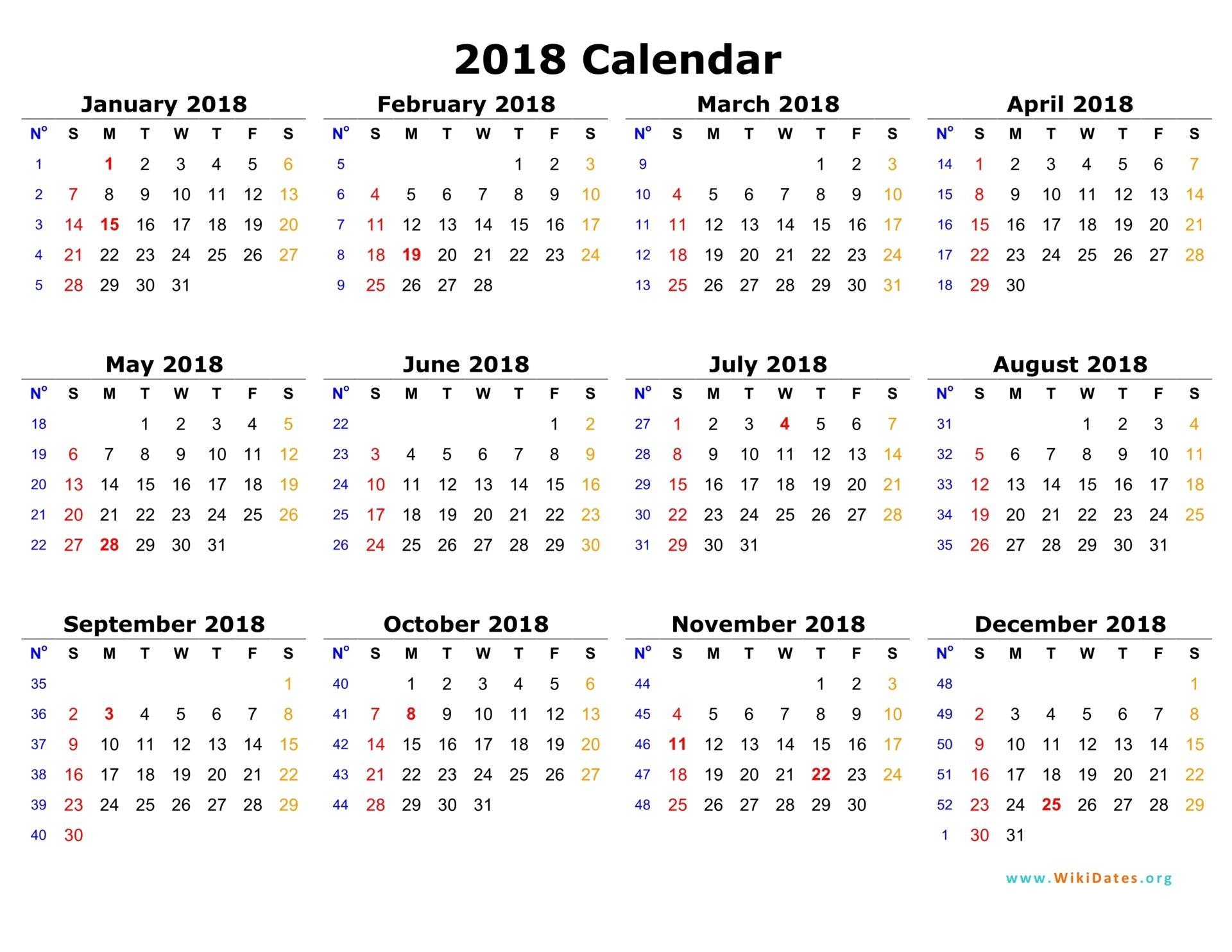 2018 Calendar Online Calendar Template Printable Calendar