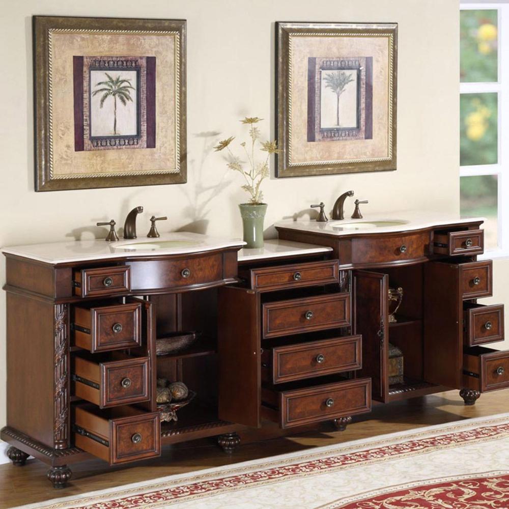 90 Double Bathroom Vanity Cherry With Ivory Ceramic Sink Double Sink Bathroom Bathroom Vanity Double Sink Bathroom Vanity [ 1000 x 1000 Pixel ]