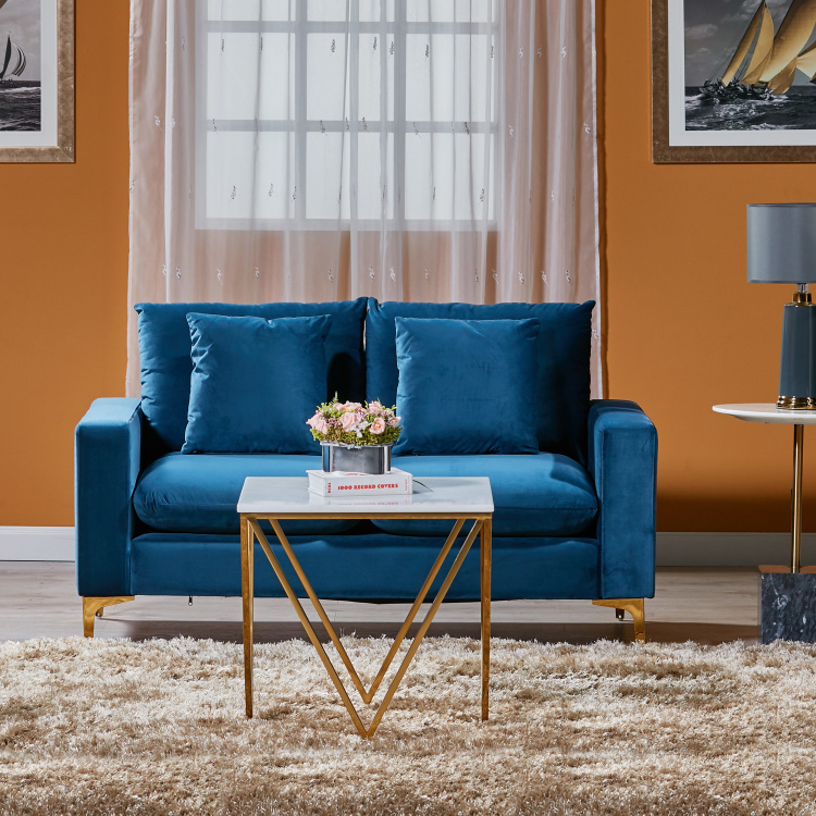 Reno 2 Seater Sofa With Scatter Cushions Blue Fabric Sofa Online Scatter Cushions 2 Seater Sofa