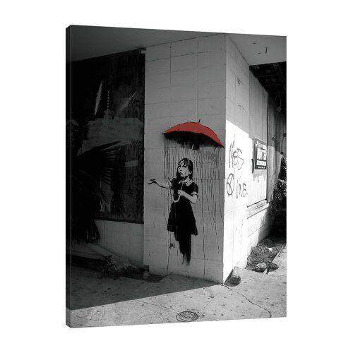 East Urban Home Leinwandbild Red Umbrella Girl von Banksy   Wayfair.de