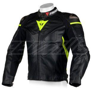 Dainese Avro Leather Jacket In Hi Viz Fluo Yellow Motorcycle