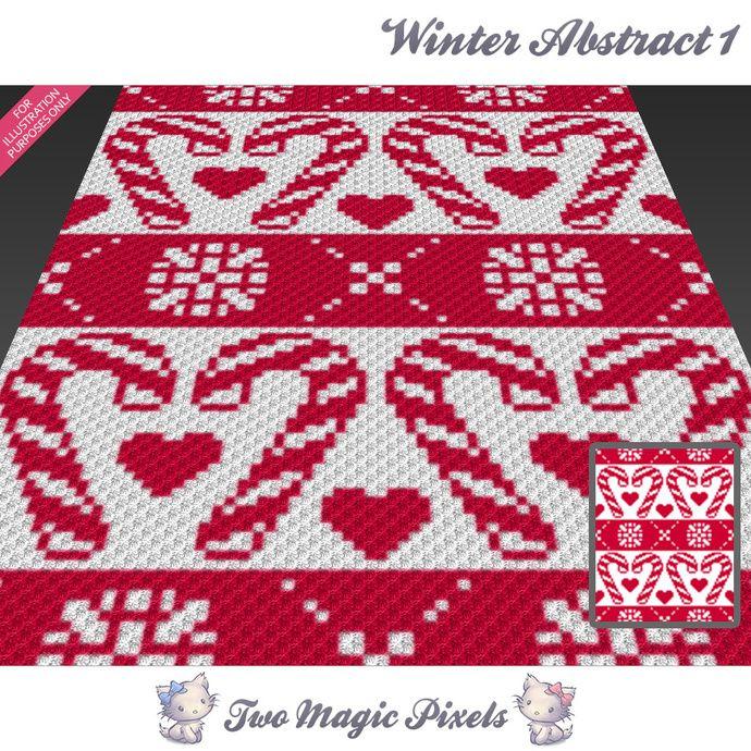 Winter Abstract 1 crochet blanket pattern; c2c, cross stitch; graph ...