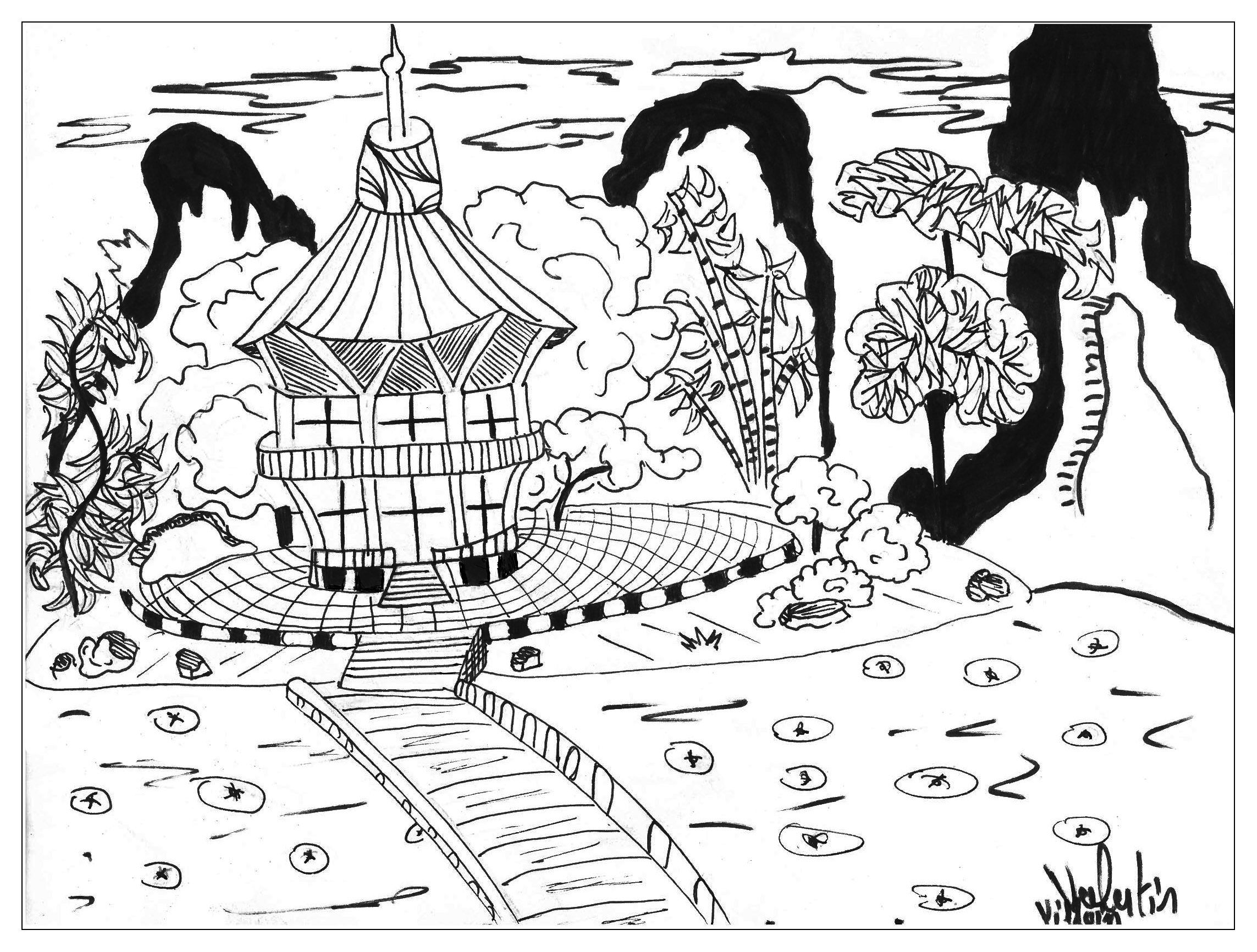Free coloring pages for jack and the beanstalk - Japan Coloring Pages For Adults Coloring Page Adults Japon Valentin