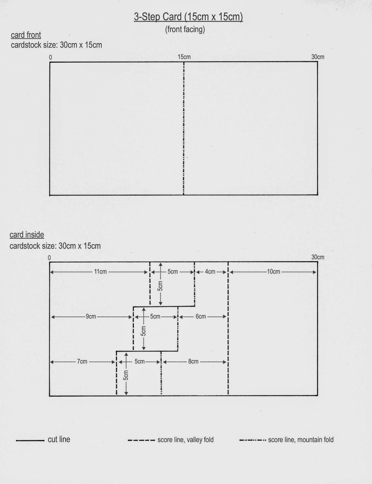 Template For 3 Step Card 6 X 6 Front Facing Step Cards Card Making Templates Cards