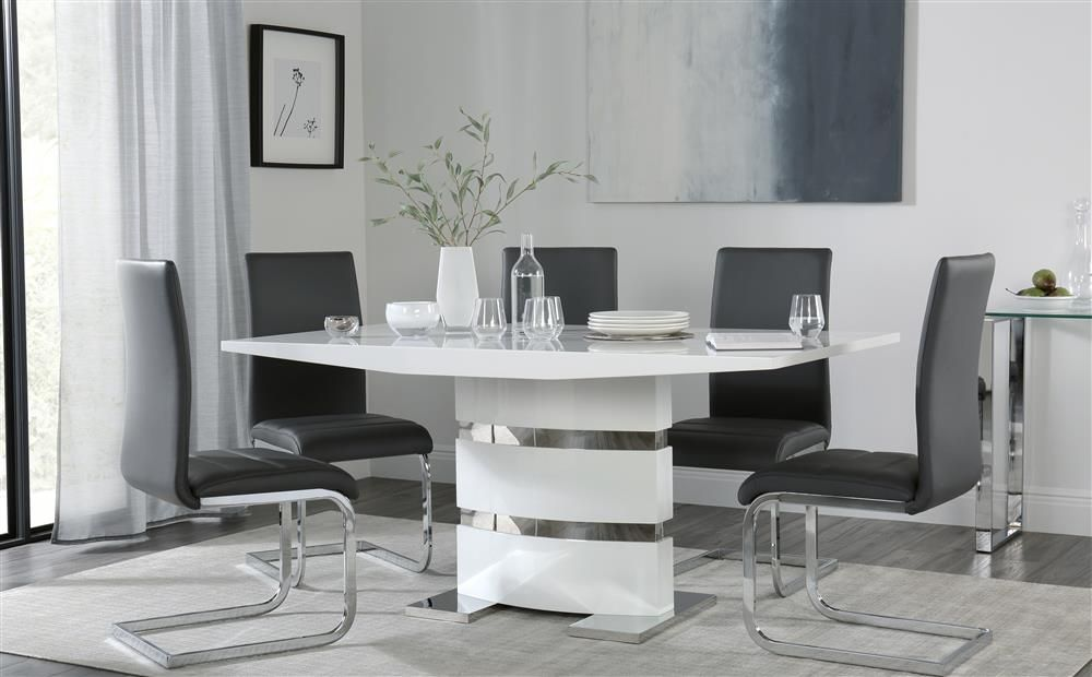 Komoro White High Gloss Dining Table With 4 Perth Grey Chairs Only 499 99 Furniture Cho Dining Room Furniture Modern Stylish Dining Room Dining Table Chairs
