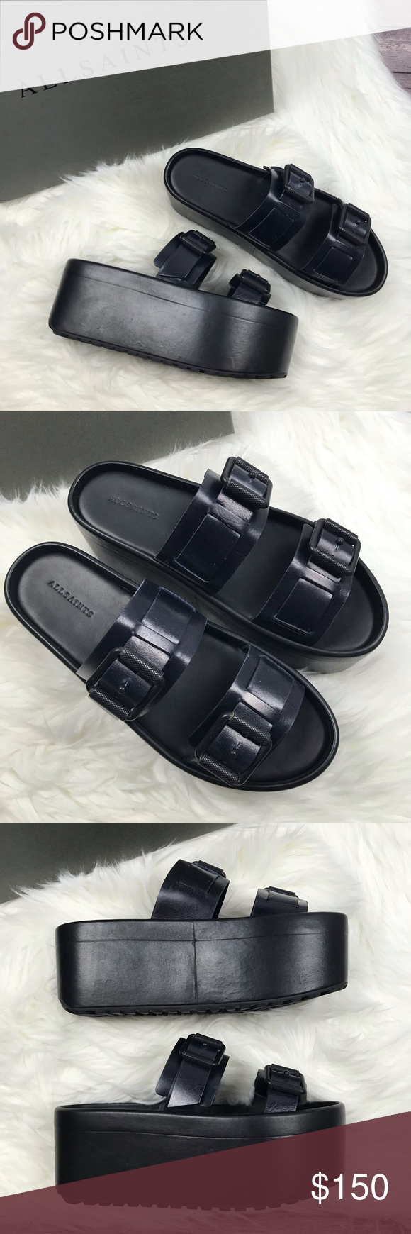 a7ce4d830b61 Allsaints Knox Platform Slide Sandals 39 New in Box Allsaints Knox Platform  Slide Sandals. Size