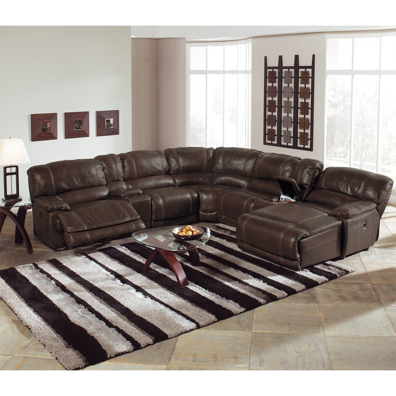 Living Room Furniture - Nikki 6-Piece Power Reclining Sectional with 3 Reclinersu2026 | Mad for Motion u0026 Leather | Pinterest | Reclining sectional Recliner and ... : leather sectional power recliner - Sectionals, Sofas & Couches