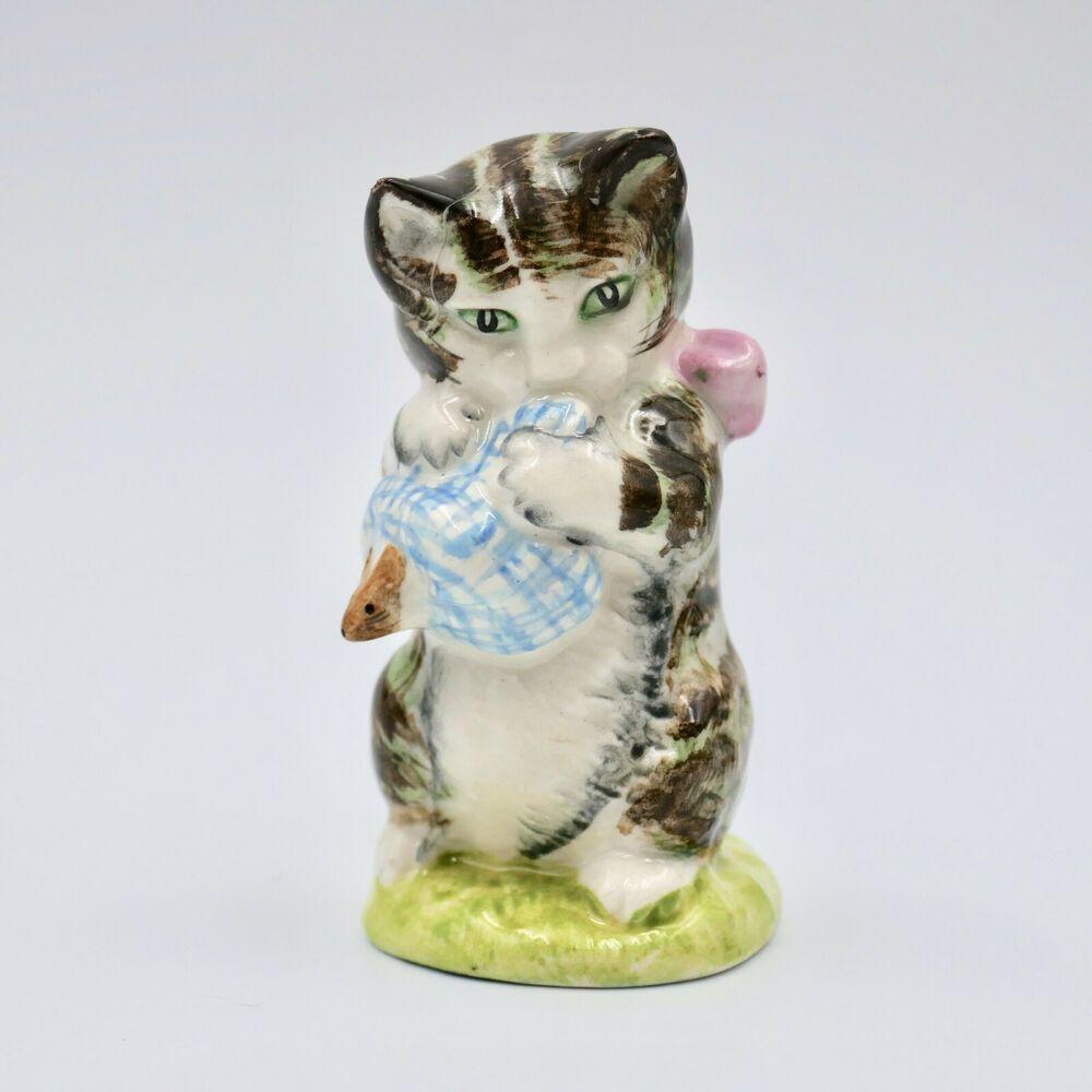 Beswick Beatrix Potter Miss Moppet Cat Figurine England 1954 Vintage Damage Beswick Beatrix Potter Cats Figurines