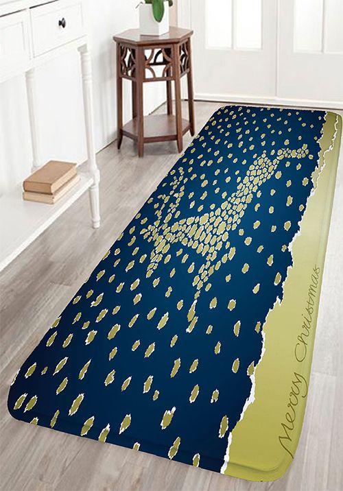 Christmas Jumping Deer Print Nonslip Flannel Bath Mat