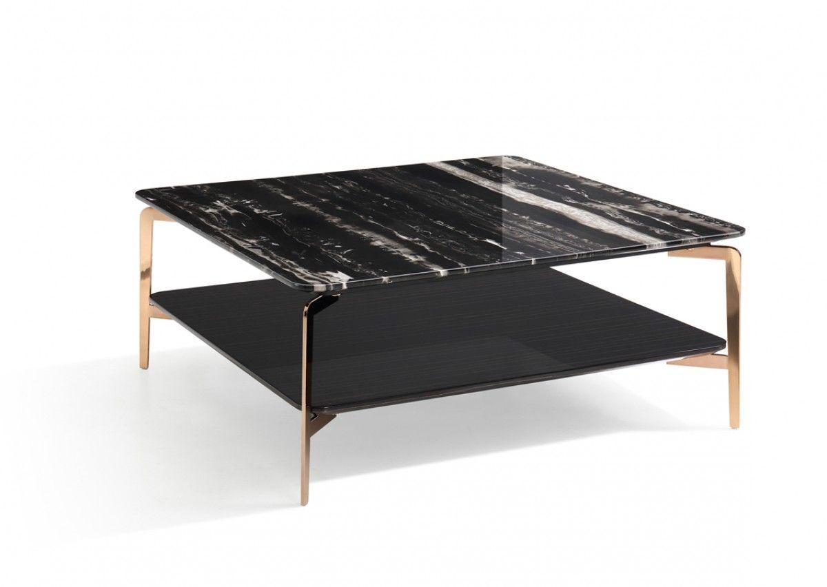 Modrest Dorian Modern Black Marble Ebony Square Coffee Table Rose Gold Legs 29 X 29 X 16 H 1550 Siyah Mermer Siyah