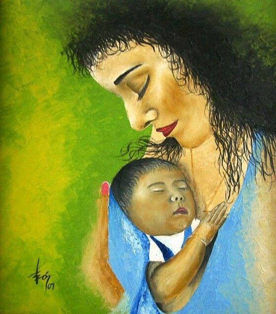 Oleo. Amor de madre. por Willan León