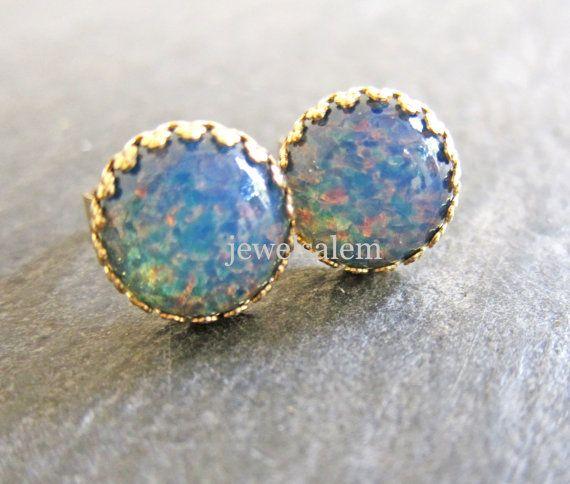 Fire Opal Earrings Gold Studs Blue Lilac Purple Pink Gemstone Post Round Exotic Bohemian Shimmer Glitter