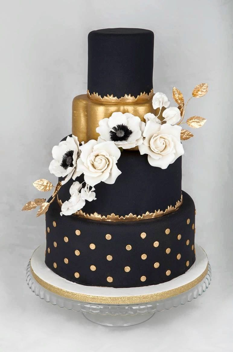 Black Wedding Black And Gold Cake Black Wedding Cakes Gold Wedding Cake