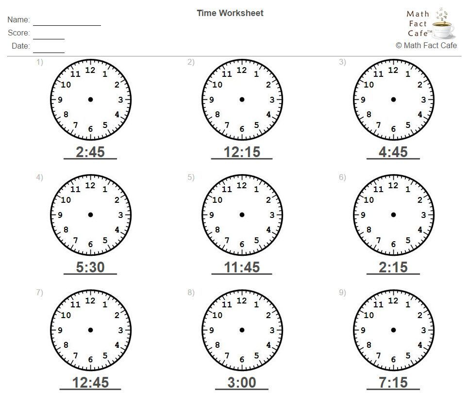Try A Time Worksheet From Mathfactcafe This One Has The Student Draw In The Clock Hands Http Ow Ly D 5r1t Math Facts Time Worksheets Math