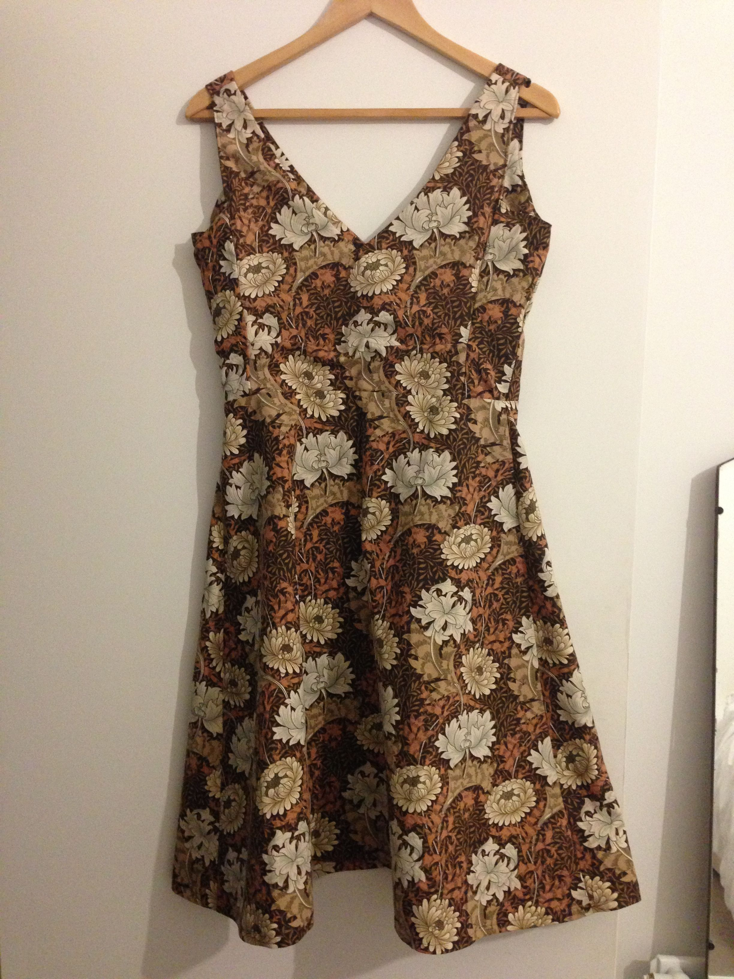 William Morris Handmade Chrysanthemum Print Dress Craft