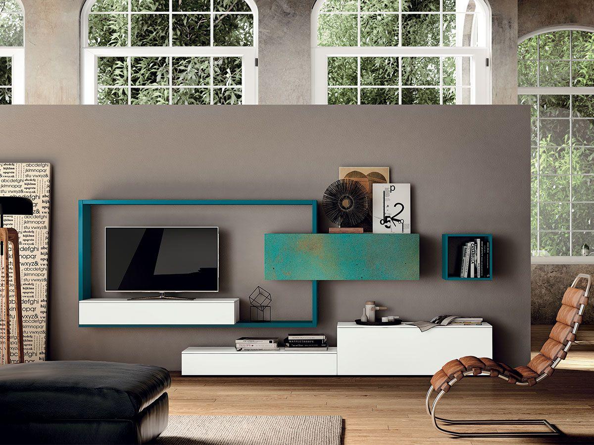 Soggiorno Viola ~ Parete soggiorno moderna arredamento mobili per la zonaliving