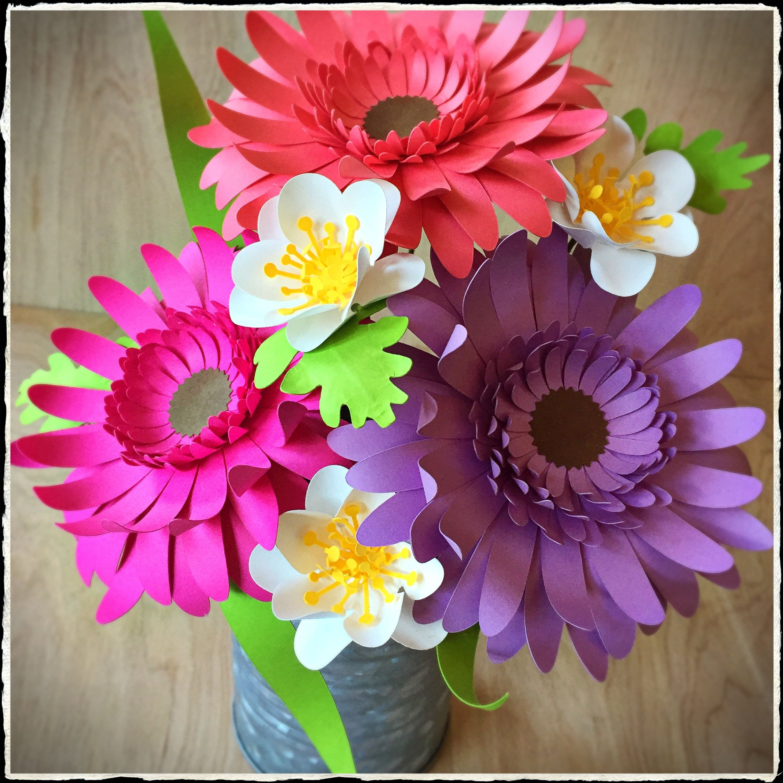 Colorful Paper Flower Arrangement Gerbera Daisy Flowers In A Semi