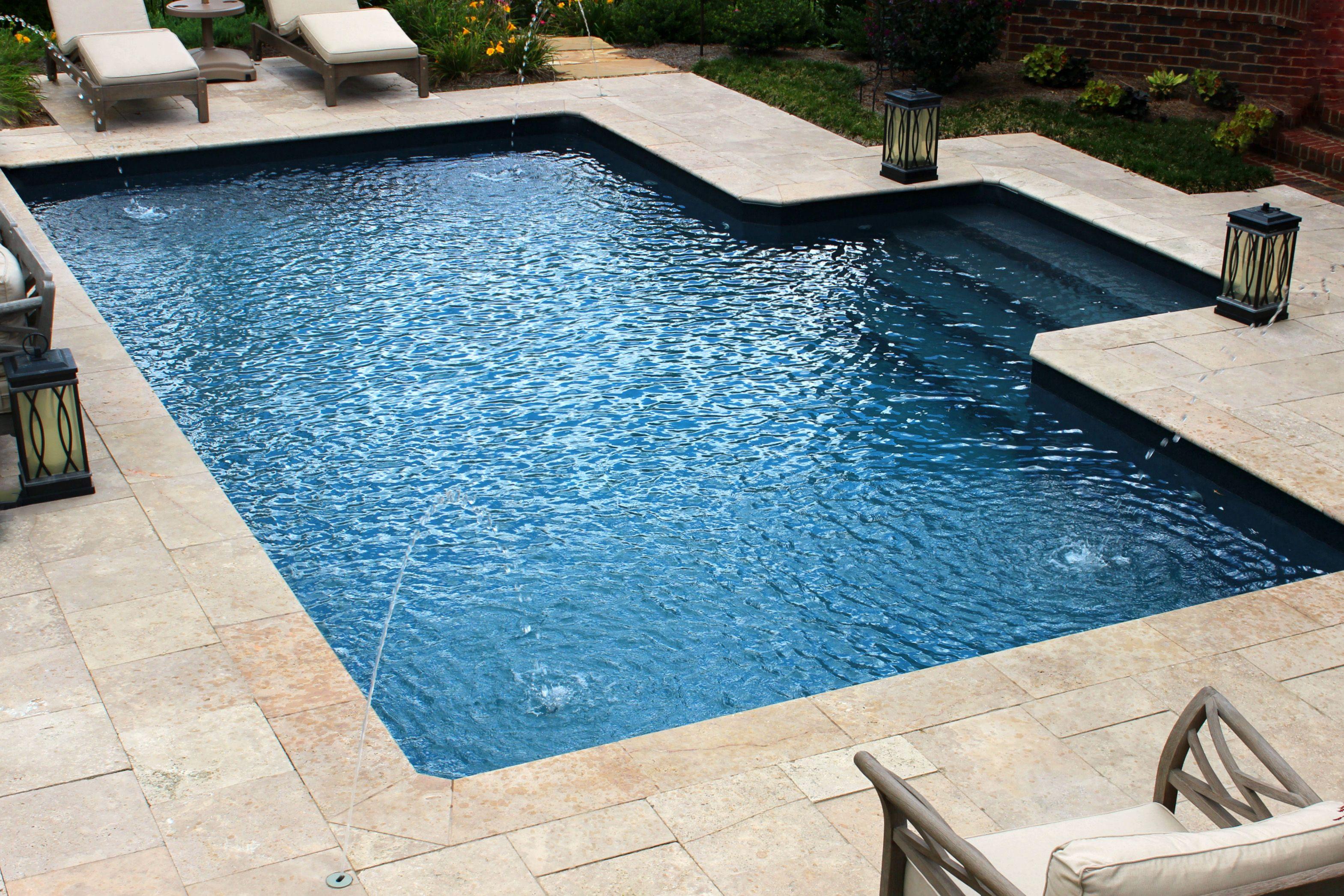 Deep Blue Vinyl Liner Pool Simple Design Stair Entry With Deck