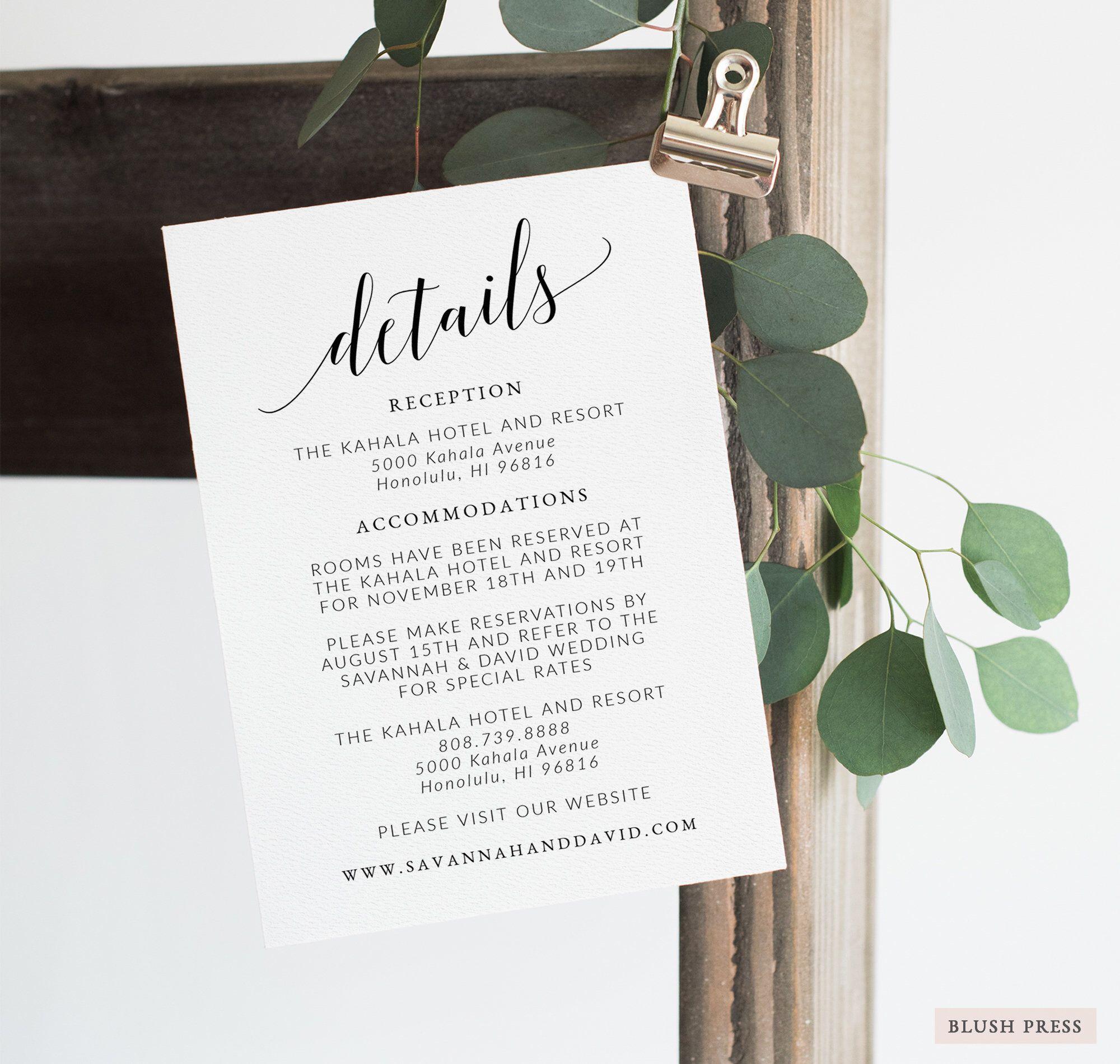 wedding details card template printable details card