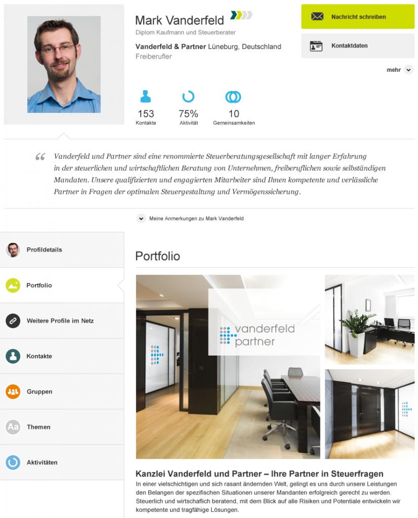 Beispiele für das Profil der WebsiteDatierung des Assistenten