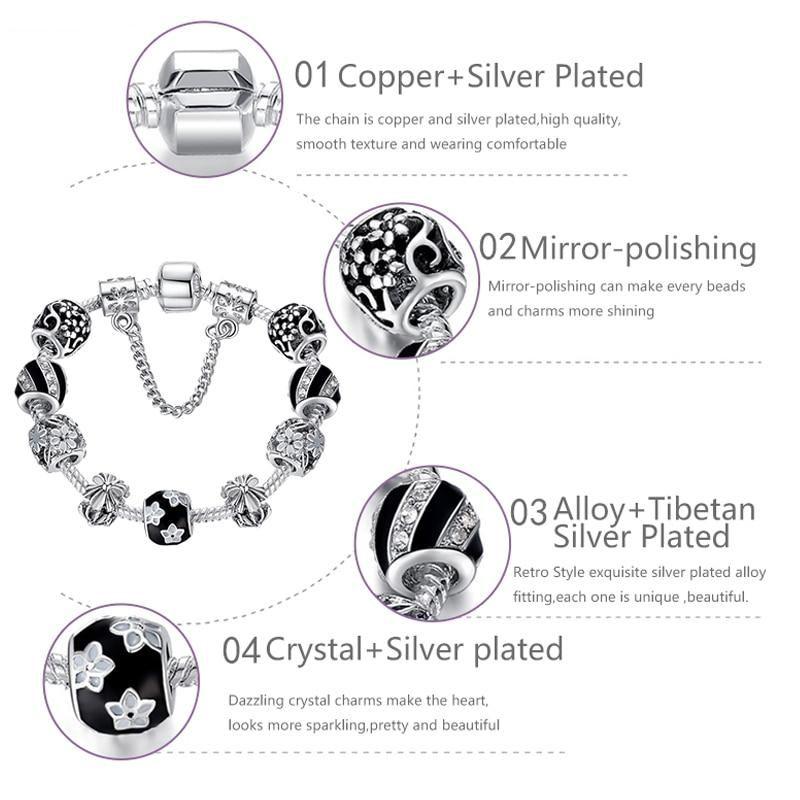 Charms For Bracelets – Silver Black 20cm