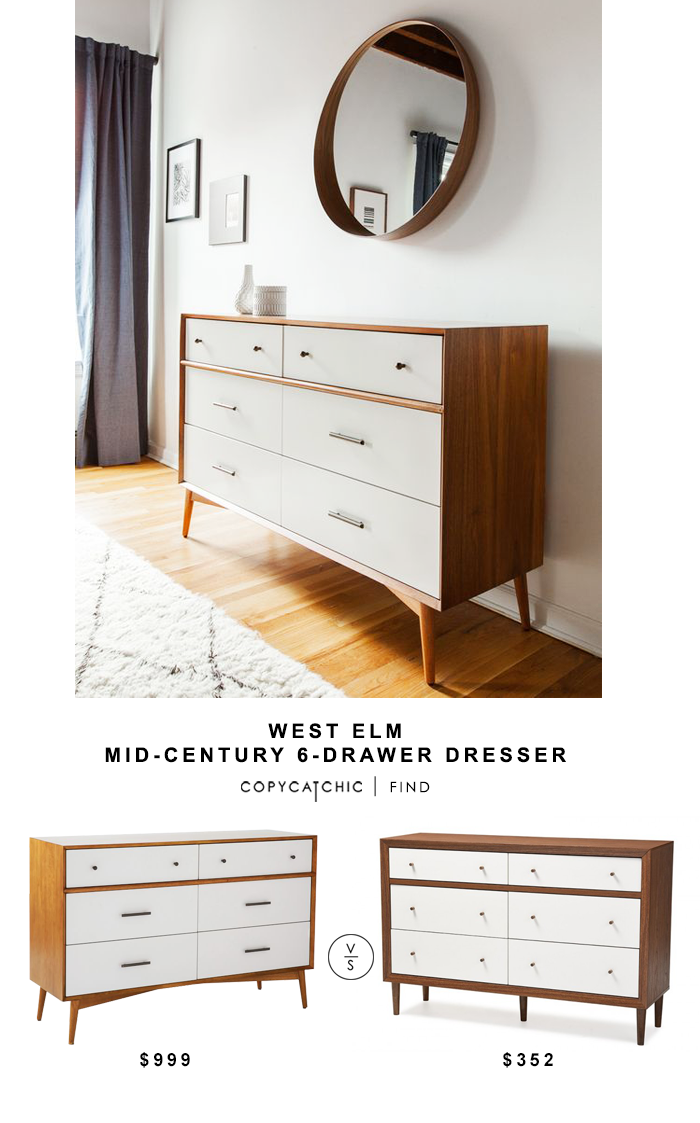 West Elm Mid Century 6 Drawer Dresser