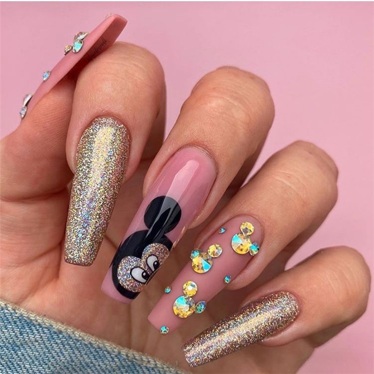 50 Dreamy And Stunning Glitter Arcylic Coffin Nail Designs You Need To Know Page 48 Of 50 Women Fashion Lifestyle Blog Shinecoco Com In 2020 Mickey Nails Disney Acrylic Nails Jasmine Nails