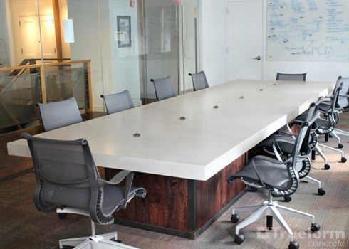 large custom conference table with a concrete table top and wood rh pinterest com