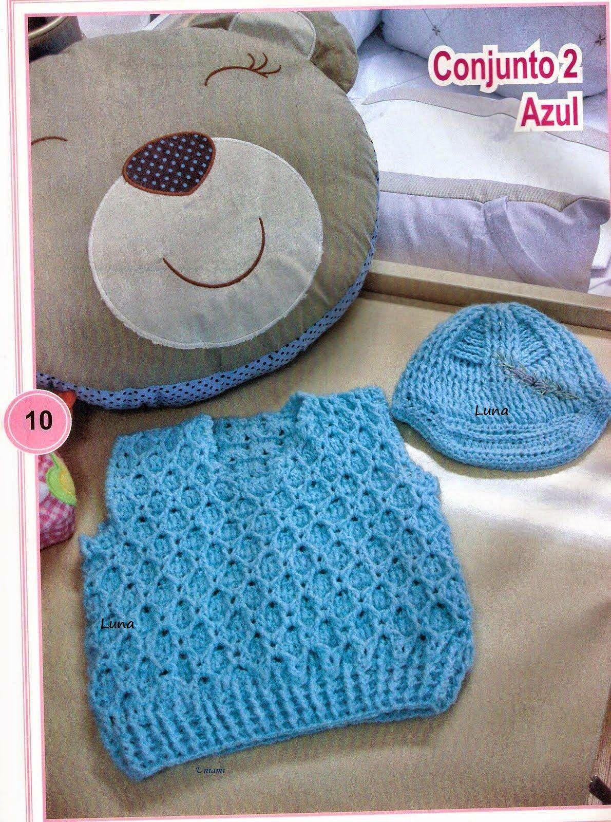 b0646840f Receita de Crochê Infantil  Colete para menino em crochê